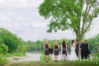 outdoor wedding ceremony red river