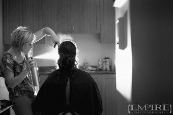 hairspray shot of bride getting ready