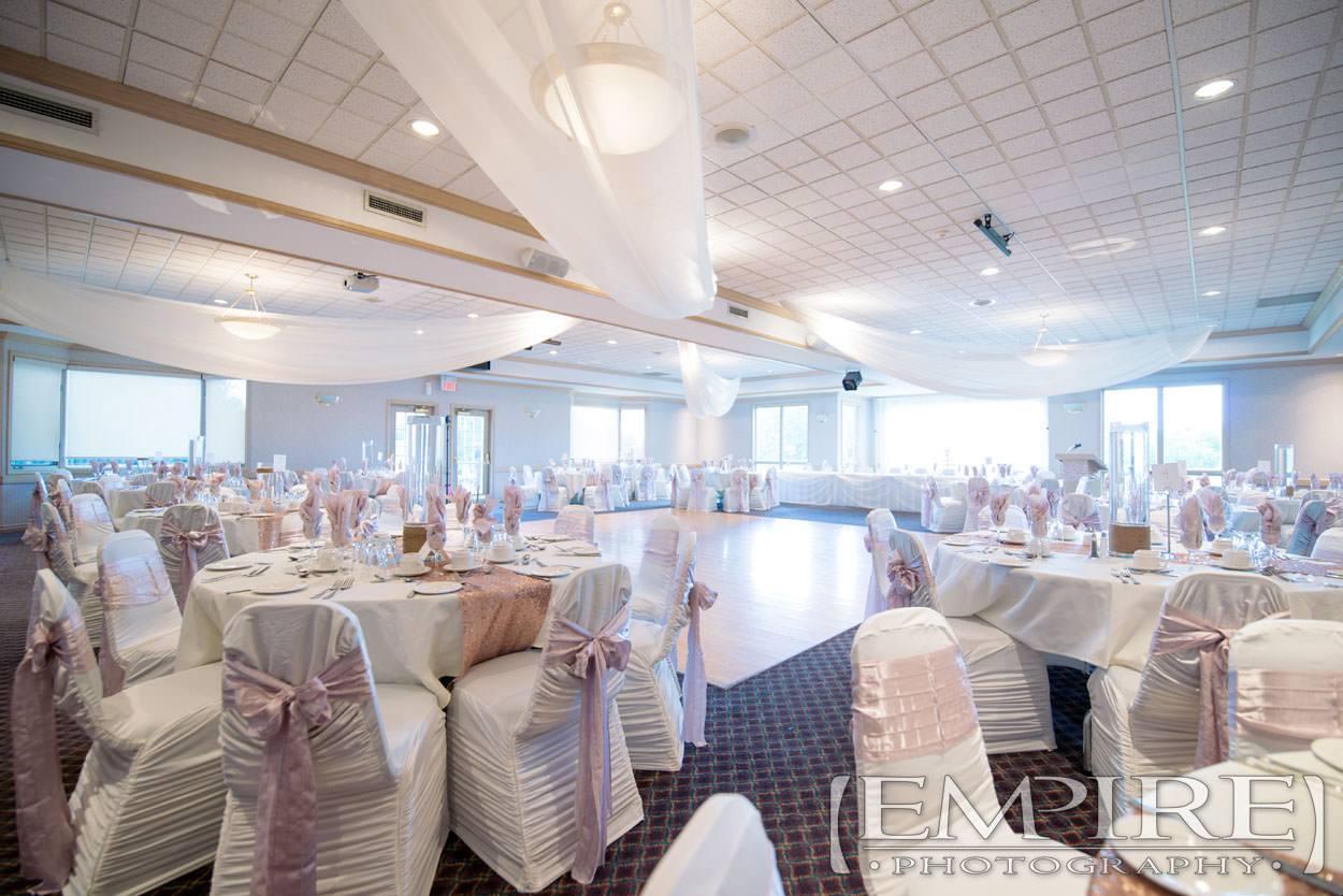wedding reception and decor setup at bel acres